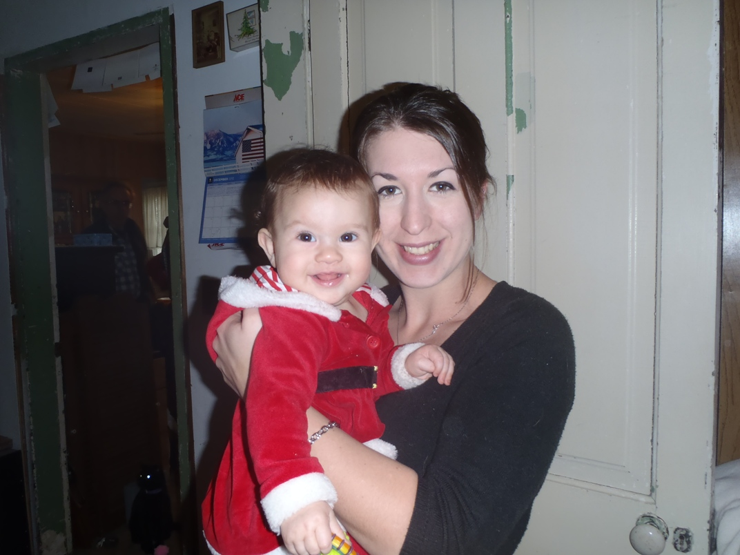 Becca The Academic Wino with her baby niece on Christmas 2012.