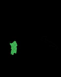 Sardinia (in green) Photo By Gigillo83 (English: Own work. Italiano: Fatta da me.) [Public domain], via Wikimedia Commons