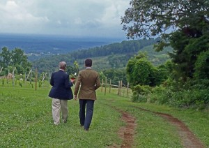 Gabriele Rausse and Francesco Mazzei walking toward the future vineyard site on Montalto.