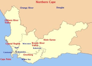 South African wine regions. Photo By Western_Cape_rural_education_districts.svg: Htonl derivative work: Agne27 (Western_Cape_rural_education_districts.svg) [CC-BY-SA-3.0 (http://creativecommons.org/licenses/by-sa/3.0) or GFDL (http://www.gnu.org/copyleft/fdl.html)], via Wikimedia Commons
