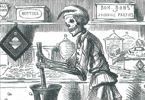 """The Great Lozenge Maker"" (1858; John Leech).  Photo courtesy of Flickr user electrons_fishgils (http://www.flickr.com/photos/42186300@N07/3986934275/)"