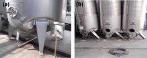Fig. 11. Typical strong leg-weak wall failure in small tanks without stiffening system at the bottom: (a) 15 m3 LSSS tank; and (b) 10 m3 LSSS tanks. Source: Gonzalez, E. et al, 2013.